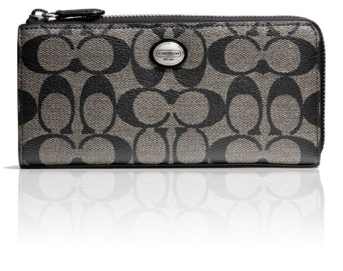 Coach   Coach Peyton Signature Slim Zip Wallet F49964 (SV/Black White/Black)