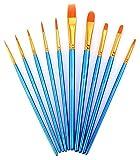 Xpassion ペイント ブラシ アクリル筆 油絵筆 水彩筆 画筆 10本ブルー