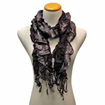 Luxury Divas Purple Ruched Shimmery Metallic Ruffled Scarf Wrap
