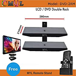 MYL DVD Wall Mount and Set-Top Box- Double Rack DVD-2RM with free Remote stand