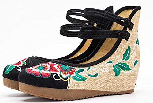 01. AvaCostume Women's Embroidery Floral Strappy Round Toe Platform Wedges
