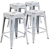 Flash Furniture Backless Distressed White Metal Indoor Counter Height Stool (4 Pack), 24-Inch