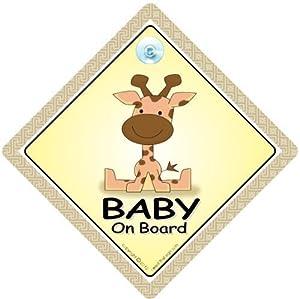 Señal para Coche con Inscripción 'Baby On Board' (Bebé A Bordo) y Jirafa, Cartel de bebé, Cartel de Bebé para Coche, Bebé A Bordo Unisex, Accesorios para Bebé