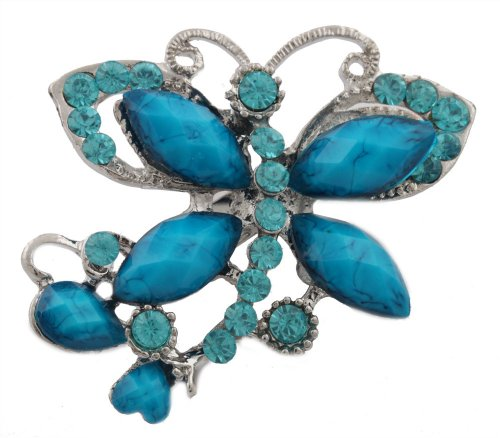 Silver  Blue Iced Out Butterfly  Stones Brooch