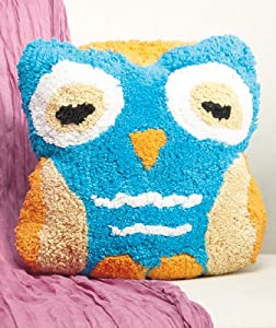 Owl Shaped Pillow- Aqua/Teal and Orange by HooHoo Home Accents