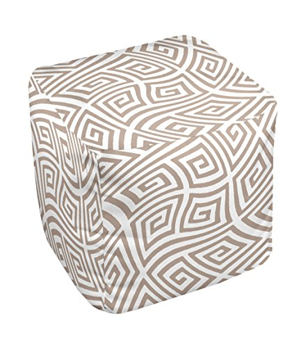 E by design FG-N9A-Flax-18 Geometric Pouf