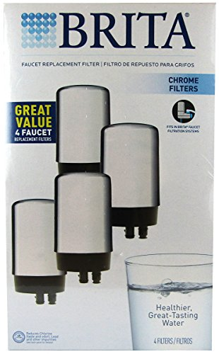 Brita On Tap Replacement Filters, 4-Pack, Chrome (Sink Attach Water Filter compare prices)