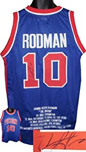 Dennis Rodman signed Detroit Pistons Blue Prostyle Jersey w  Embroidered Stats by Athlon Sports Collectibles