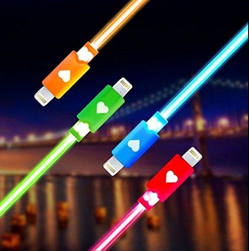 iPhone6 iPhone5 ipad ipadmini 充電器 ライトニング 充電ケーブル 光る LED Lightning USB アイフォン6 アイフォン5 アイパッド アイパッドミニ 選べるカラー (レッド)