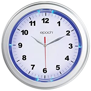 Blue led illuminated wall clock silver bezel - Digital illuminated wall clocks ...