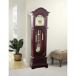 71 inch Traditional Vintage Cherry Wood Grandfather Clock Gold Pendulum New
