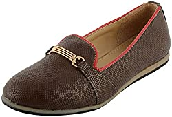Richiee Girls Brown Synthetic Ballerina (1519-102Brown_39, Size - 39)