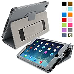 Snugg™ iPad Mini & Mini 2 Case - Smart Cover with Flip Stand & Lifetime Guarantee (Grey Leather) for Apple iPad Mini & Mini 2 with Retina