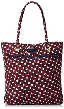 Tommy Hilfiger Printed North South Tote,Red/Navy Tommy T Print,One Size