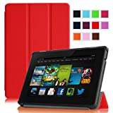 "Fintie Amazon All New Kindle Fire HD 7"" SmartShell Case Cover Ultra Slim Lightweight with Auto Sleep / Wake Feature - Red (will only fit All New Kindle Fire HD 7 2nd Generation 2013 Model)"