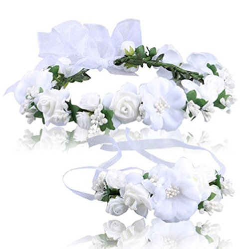 Vovotrade Wedding Hair Accessories Wrist Flower Garland Seaside Holiday Pictures (White)