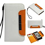 TsirTech New Apple iPhone 5 Premium Flip Folio Wallet Leather Case White X278