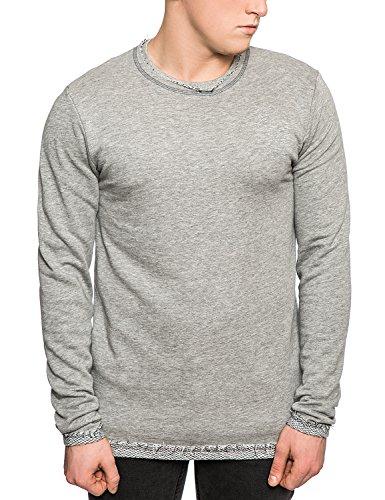 Only & Sons-Maglione da uomo Raw Edge-Loopback Felpa girocollo, colore: nero/grigio Grey Small