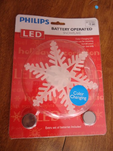 """Philips Color Changing Led Battery Operated Snowflake Light - 4"""" Diameter - Indoor Use - Suction Cup Attachment"""
