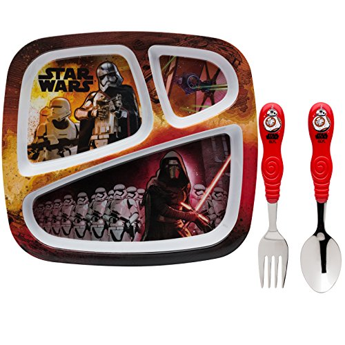 Zak! Designs Kids Dinnerware Set Includes 3-section Plate, Fork and Spoon Featuring Graphics from Star Wars The Force Awakens, BPA-free, 3 Piece Set