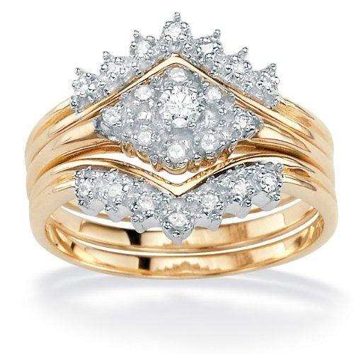 PalmBeach Jewelry 3-Piece Diamond 10k Wedding Set