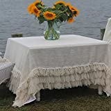 Couture Dreams Chichi Linen Tablecloth, Ivory
