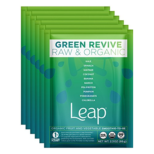Leap Certified Organic Healthy Fruit & Vegetable Instant Smoothie Powder - Nutritious Raw Non-GMO Superfoods & Natural Vegan Veggie Mix - No Sugar Added - Whole 30 Approved - 6 Pack (Green Revive) (Freeze Dried Beet Powder compare prices)