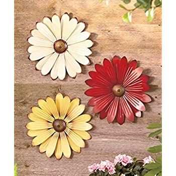 Set of 3 Metal Wall Flowers