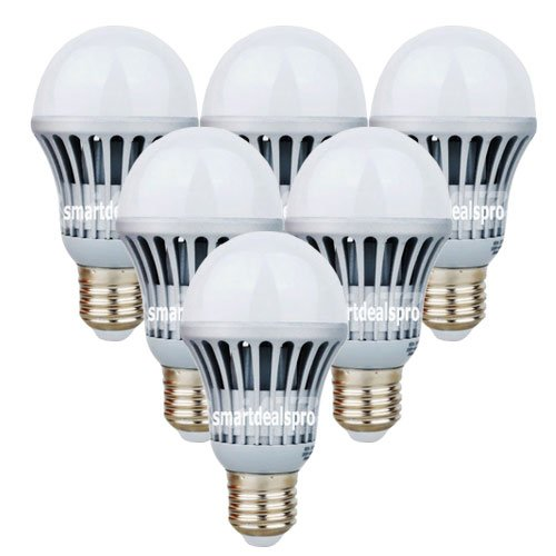 SmartDealsPro 6-Pack AC100-240V 10W 5500K-6500K Daylight White E27 LED Lights Bulb Lamp 1000 Lumen, 100W Incandescent Bulb Replacement with Free Cable Tie