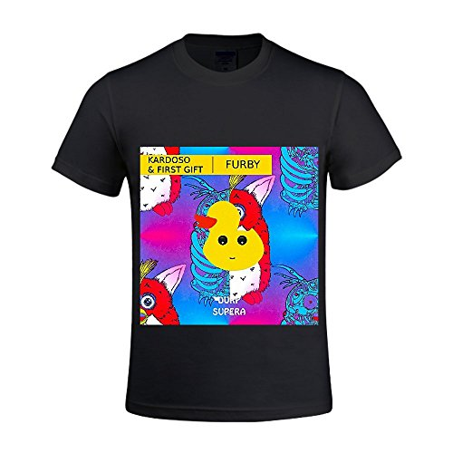 Furby First Gift & Kardoso Men Crew Neck Funny Sports T Shirts Black