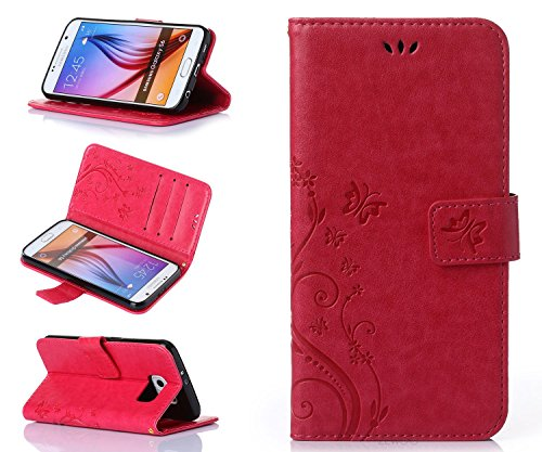 ZeWoo Folio Custodia in PU Pelle - R155 / Bel rosso - per Samsung Galaxy S6 (5.1 pollici)(Non per Samsung S6 Edge) Custodia Protettiva