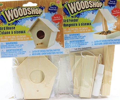 Bundle: 2 Items-DIY Woodshop Bird House & Bird Feeder Easy to Assemble Activity Sets - 1