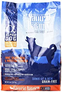 Natural Balance Alpha-Grain Free Trout, Salmon Meal, and Whitefish Formula for Dogs, 5-Pound Bag