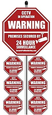 """1 """"REAL"""" CCTV Security Camera Home Alarm Yard Sign (9"""" x 9"""") with 36"""" Long Post with 6 Security Alarm System Stickers (White & Red)"""