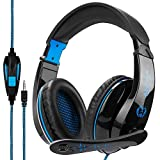 Anivia A9 Gaming Headset Stereo PC Computer Headphones with Microphone,Over Ear Noise Canceling 3.5mm Jack for PS4 New Xbox One Mac Gamer,Black/Blue (Color: Blue, Tamaño: A9Plus)