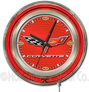 Corvette - C6 15 Double Neon Ring Logo Wall Clock Color: Red Silver by Holland Bar Stool