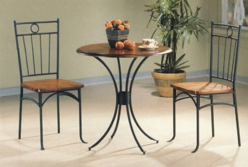 Dining Room Sets 3pc Bistro Metal Wood Dining Tea Table 2 Chairs