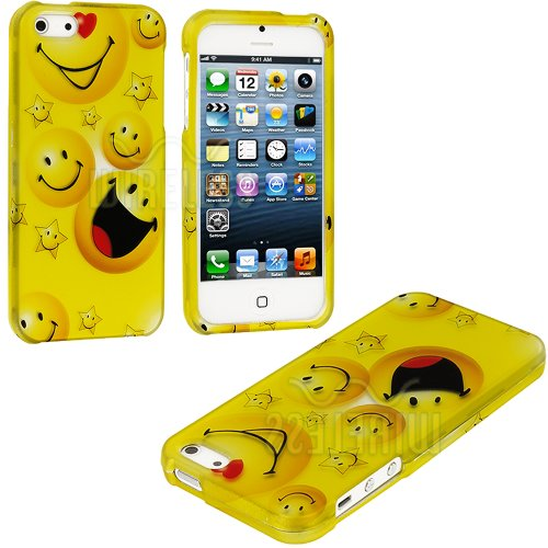 Mylife (Tm) Yellow Smiley Faces Series (2 Piece Snap On) Hardshell Plates Case For The Iphone 5/5S (5G) 5Th Generation Touch Phone (Clip Fitted Front And Back Solid Cover Case + Rubberized Tough Armor Skin + Lifetime Warranty + Sealed Inside Mylife Author
