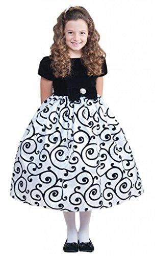Crayon Kids Little Girls White Black Velvet Sash Christmas Dress White Size 4T front-683627