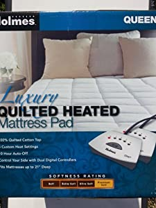 Luxury Quilted Heated Mattress Pad Quilted Queen Size 60 X 80 Inches Home Kitchen