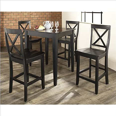 5 Pc Pub Dining Set w Tapered Leg and X-Back Stool