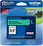 Brother Laminated Tape Black on Green, 18mm (TZe741) - Retail Packaging
