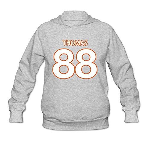 M07H Women's Hooded Demaryius Thomas Denver Broncos Super Bowl 50 Ash Size M