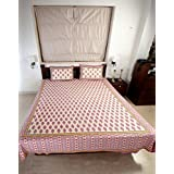Double Bedsheet Set In Cotton Printed In Ivory, Blue And Red Combo With Red Border - Queen Size