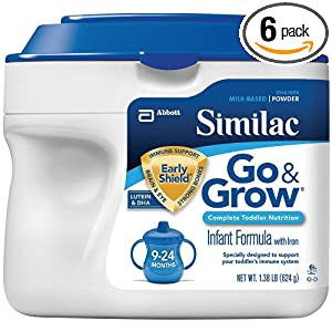 Similac Go & Grow Milk Based Formula, Powder, 22-Ounces (Pack of 6)
