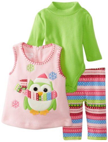 Bonnie Baby Girls Newborn Owl Fleece Applique Legging Set, Pink, 3-6 Months front-974953