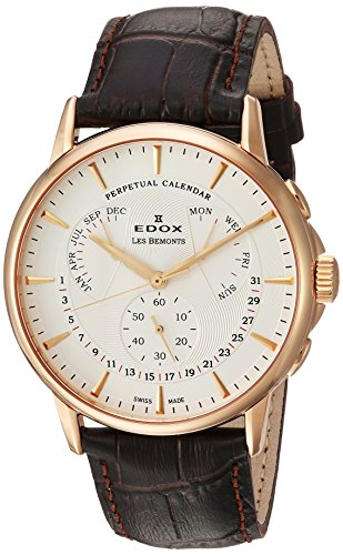 Edox-Mens-Les-Bemonts-Swiss-Quartz-Stainless-Steel-and-Leather-Dress-Watch-ColorBrown-Model-01602-37R-AIR