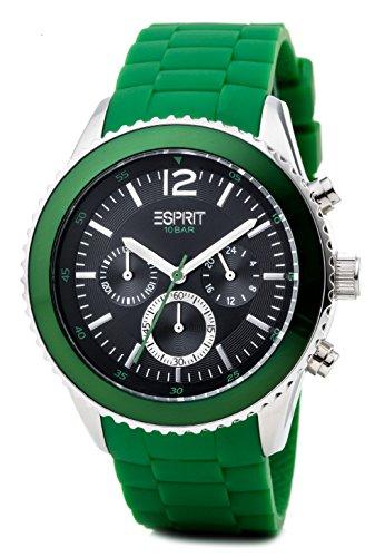 Esprit marin men ES105331007 - Reloj cronógrafo de cuarzo para hombre, correa de resina color verde (alarma, cronómetro)