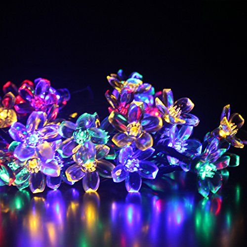 Dephen Solar Outdoor String Lights, 22ft 50 LED Flower Peach Blossom Fairy Christmas Waterproof Lights Solar Powered String lights for Garden, Lawn, Patio,Party,Home Decoration(Multicolour)