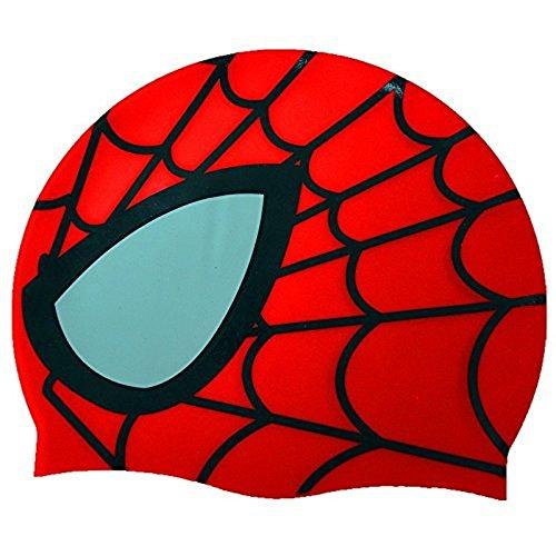 Spiderman di nuoto del silicone girare la testa Cap silicone elastomero avanzata protezione del fumetto nuoto bambini (Rosso)